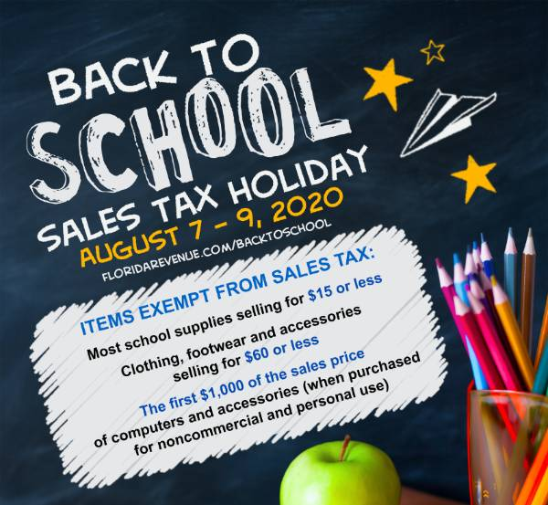 Florida Back To School Sales Tax Holiday Returns August 2020