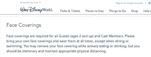 Disney  has updated its face covering policy as of July 2020