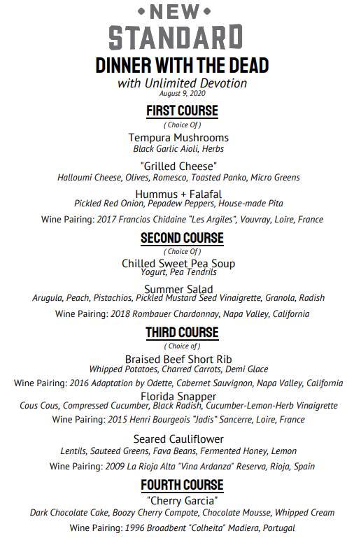 The New Standard in Winter Park - Dinner with the Dead menu