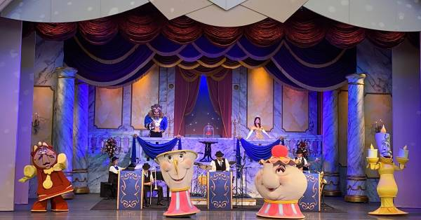 The Disney Society Orchestra and Friends is a 20-minute instrumental concert with a closing appearance by Beauty and the Beast characters