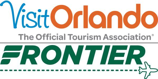 Visit Orlando and Frontier Airlines logos