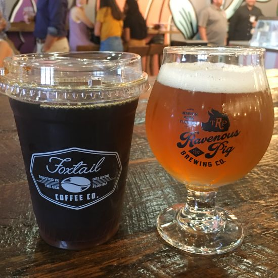 Foxtail coffee and Ravenous Pig Brewery craft beer